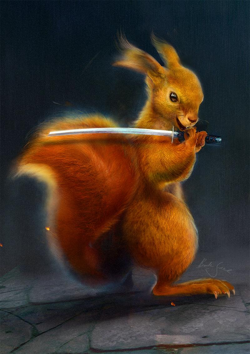 Little Earth Warrior: Squirrel | 20 x 30cm auf Aluminium