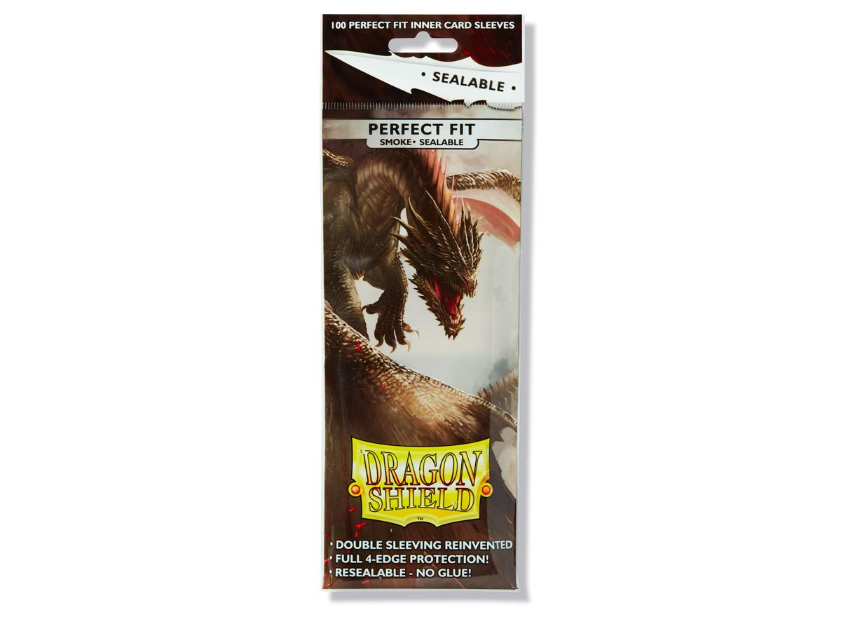 100 Dragon Shield Perfect Fit Sealable Sleeves - Smoke